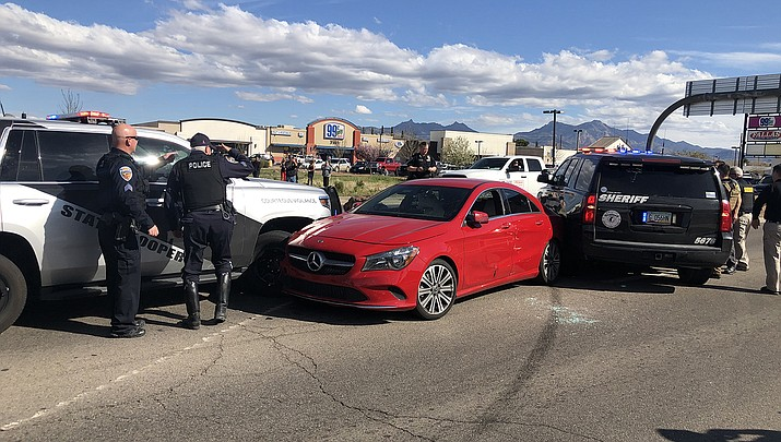 The Mohave County Sheriff's Office reports that spike strips were utilized Monday, March 9 in order to stop a vehicle whose driver allegedly attempted to run over a deputy. (Photo courtesy of MCSO)