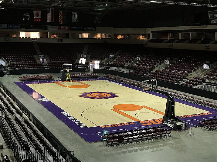 In this undated Courier file photo, the Findlay Toyota Center in Prescott Valley, home of the Northern Arizona Suns, sits empty. The Northern Arizona Suns were scheduled to play the Salt Lake City Stars on Wednesday, March 11, 2020, but the game was postponed. The NBA suspended its season Wednesday night due to a Utah Jazz player testing positing for the coronavirus. (Brian M. Bergner Jr./Courier, file)