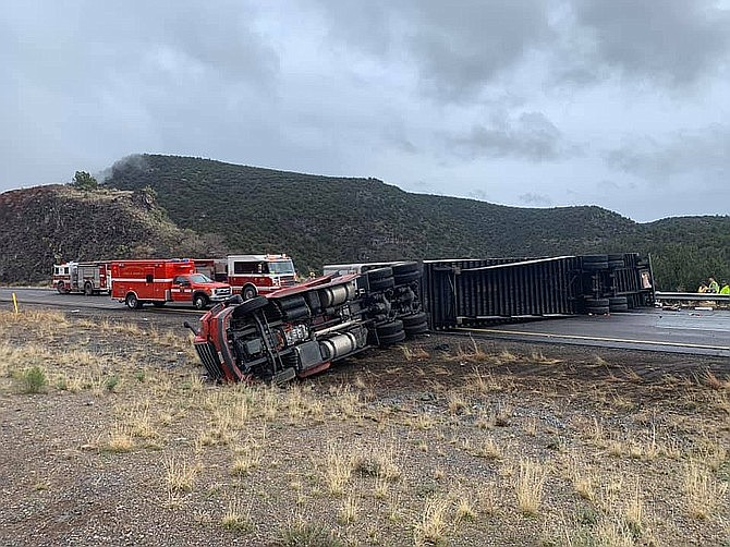 A rolled semi-truck blocking northbound Interstate 17 at milepost 282 Wednesday afternoon. Photo courtesy Copper Canyon Fire and Medical District