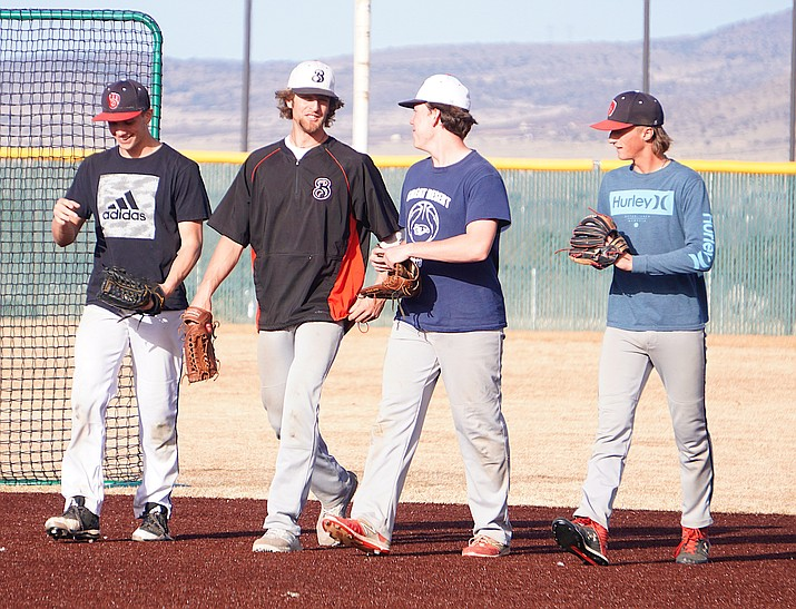 Players for the Bradshaw Mountain baseball team walk together during practice Feb. 20, 2020, in Prescott Valley. So far, high school sports in the quad-city area are still a go despite the coronavirus pandemic causing the NBA and NHL to suspend their seasons, MLB to delay its season and the NCAA to completely cancel its postseason. (Aaron Valdez/Courier, file)