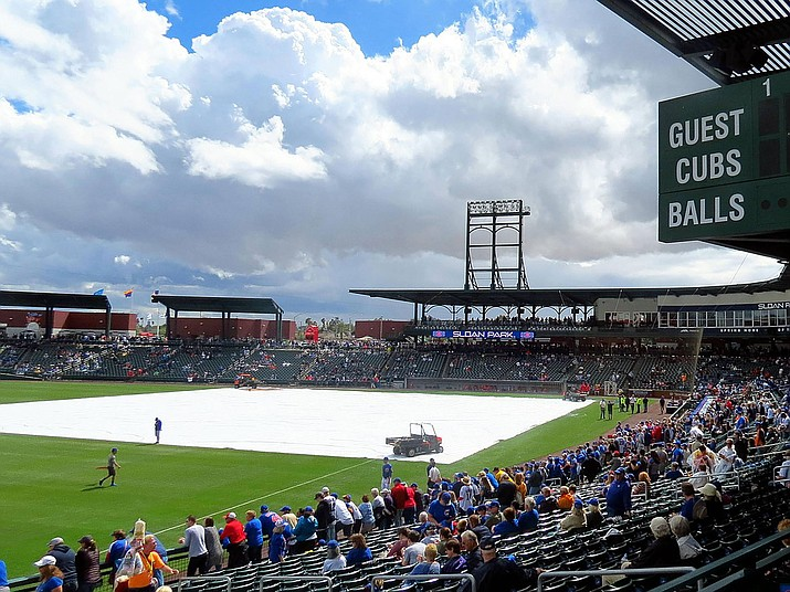 Diehard Cubs fan Elaine Maddox arrived at Mesa's Sloan Park, above, only to be locked out after spring training was canceled due to the coronavirus outbreak. (Photo by redlegsfan21, CC by 2.0, https://bit.ly/3cZ1ENa)