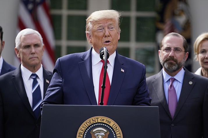 President Donald Trump speaks during a news conference about the coronavirus in the Rose Garden of the White House, Friday, March 13, 2020, in Washington. (Evan Vucci/AP)
