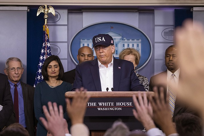 President Donald Trump speaks during a news conference about the coronavirus in the James Brady Briefing Room at the White House, Saturday, March 14, 2020, in Washington. (Alex Brandon/AP)
