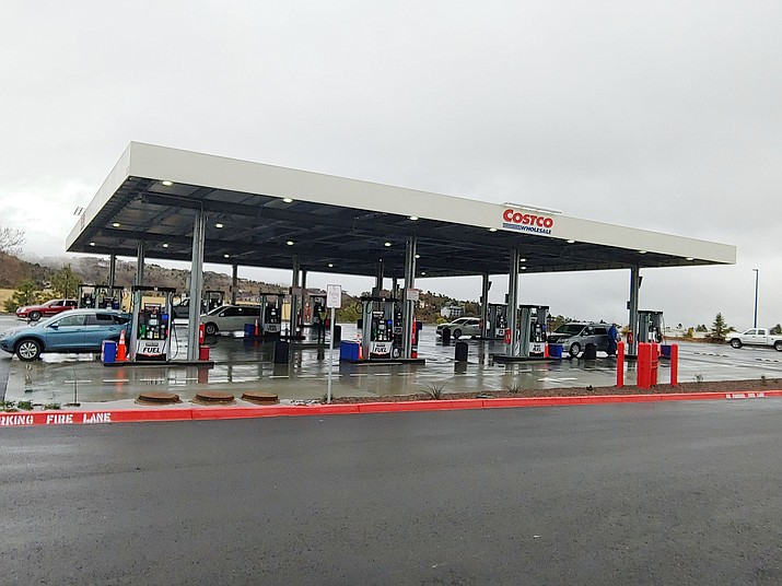 The Prescott Costco, located near Highway 69 and Walker Road, has opened its new gas station, which is at the site of a former restaurant — on the hill above the old gas station. (Doug Cook/Courier)