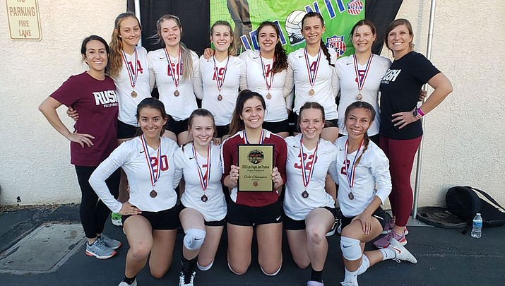 The RUSH 18U volleyball team won a championship last weekend at the 2020 Las Vegas Jam Festival. Back row from left are coach Kyra Williams, Kimber Privetts, Eliza Telford, Kyla Romeo, Kalyse Whitehead, Lynsey Day, Brianna Portillo and coach Sarah Casson. Front row from left are Madison Lewis, Mollie King, Lorelei Fernandez, Lanae Burgess and Natalie Sanchez. (Courtesy photo)