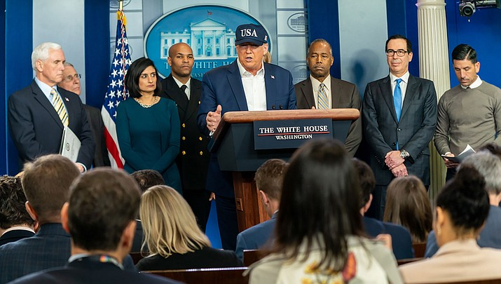 U.S. President Donald Trump speaks during a news conference about the coronavirus on Saturday, March 14, 2020, in Washington. (Official White House photo/public domain)