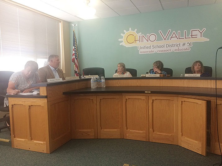 The Chino Valley Unified School District board is seen in this file image. The board had hoped to extend spring break by one week, but Gov. Doug Ducey upended those plans. (Courier, file)