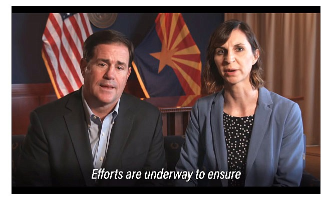 On March 15, Arizona Governor Doug Ducey and State Superintendent of Schools Kathy Hoffman announced a statewide closure of Arizona schools from March 16-27. (Screenshot/Governor Doug Ducey)