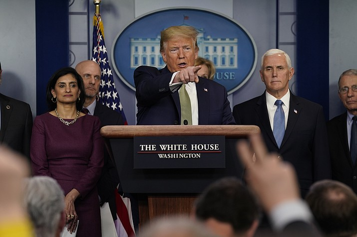President Donald Trump speaks during a press briefing with the coronavirus task force, at the White House, Tuesday, March 17, 2020, in Washington. (Evan Vucci/AP)