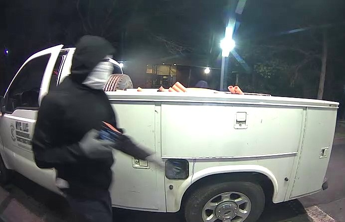 Authorities in North Carolina are searching for at least two suspects who were captured chaining an ATM to a stolen pickup truck and attempting to drag it away, according to officials. (Chapel Hill Police, Twitter)