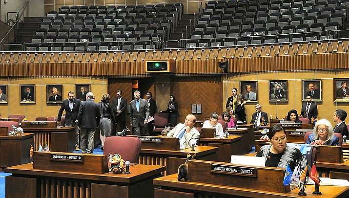 Arizona senators convened Monday, March 16 with several members absent and a gallery closed to the public as the COVID-19 virus continues to spread. Lawmakers plan to approve the budget, then recess. (Capitol Media Services photo by Howard Fischer)