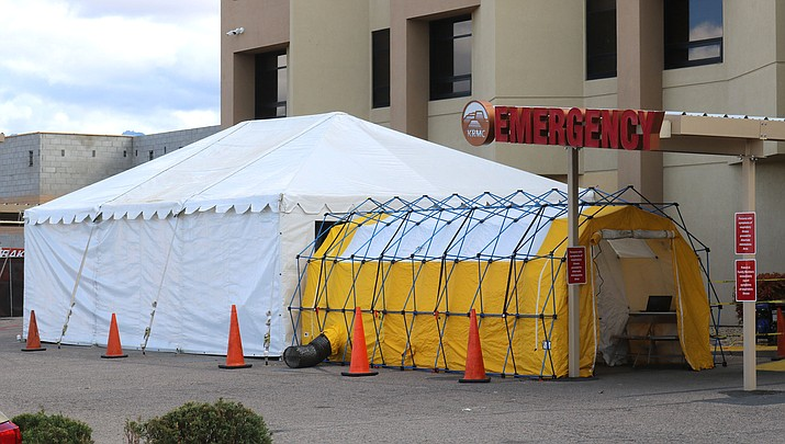"Kingman Regional Medical Center confirmed Wednesday, March 18, that the result of a coronavirus test administered to an emergency room patient has been ruled ""inconclusive."" The patient has been advised to self-quarantine, and the case will be managed as positive until further testing determines conclusive results."" (Photo by Travis Rains/Kingman Miner)"