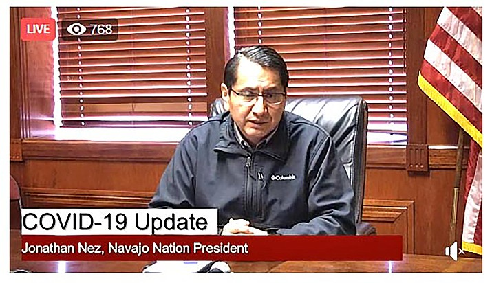 Navajo Nation President Jonathan Nez announced during a press conference March 17 that a second member of the Navajo Nation tested positive for COVID-19 coronavirus. (Photo/screenshot Navajo Nation)