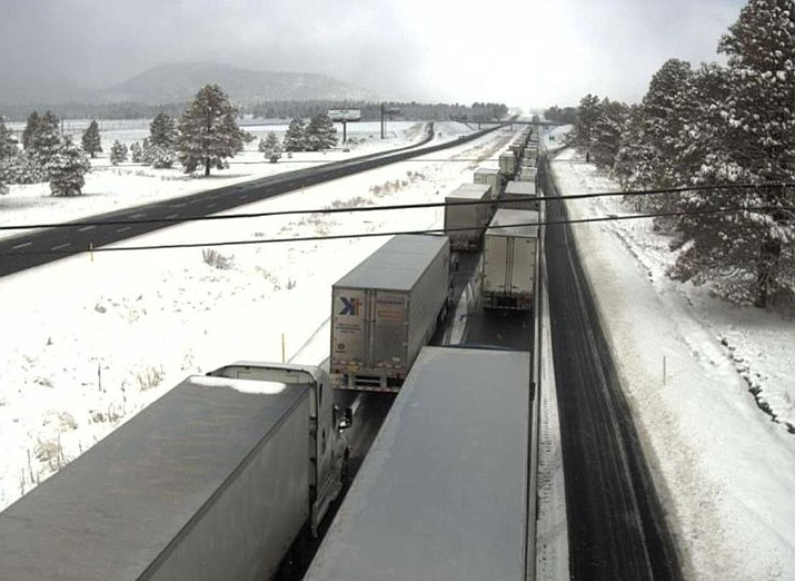 Traffic is near a standstill around 10 a.m. on I-40 at milepost 168 near the KOA exit. (Photo/ADOT)