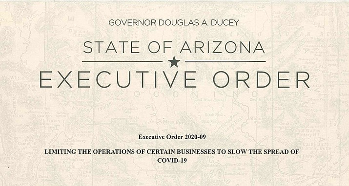 View, print or download a full copy of Gov. Ducey's executive order closing bars, restaurants, movie theaters and gyms to help slow the spread of COVID-19. See links in the story below.