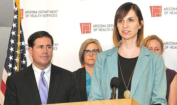 According to a news release sent out by Gov. Doug Ducey's office Friday afternoon, Governor Doug Ducey, far left, and Superintendent Kathy Hoffman, right, speaking, announced a two-week extension of school closures through Friday, April 10, due to the COVID-19 virus. File photo