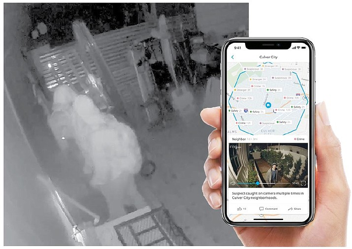 LEFT: Two suspects caught on a home security video attempting to break into a garage in the 24000 block of Prairie Way in Paulden on Monday, Feb. 10, 2020. (YCSO/Courtesy)  RIGHT: An example provided by Ring of what its Neighbors app looks like on a smartphone. (Ring/Courtesy)