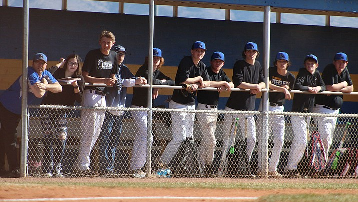 The Kingman Academy High School baseball team has nine seniors this year and the group was expected to make a deep run into the playoffs. That might not happen now as the season is delayed through April 10 due to coronavirus. (Photo by Beau Bearden/Kingman Miner)