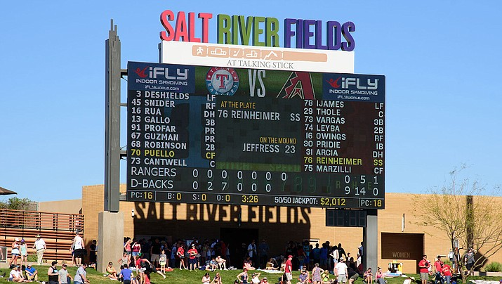 The Diamondbacks halted their voluntary workouts at Salt River Fields complex, above, due to the coronavirus pandemic. (File photo courtesy of Kelsey Grant/Arizona Diamondbacks)