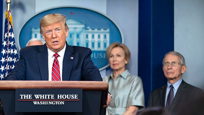 President Donald Trump continued to strike a confident tone about the nation's ability to defeat the pandemic soon, even as health leaders nationwide acknowledged that the U.S. is nowhere near the peak for the outbreak. (Official White House Photo by Shealah Craighead)