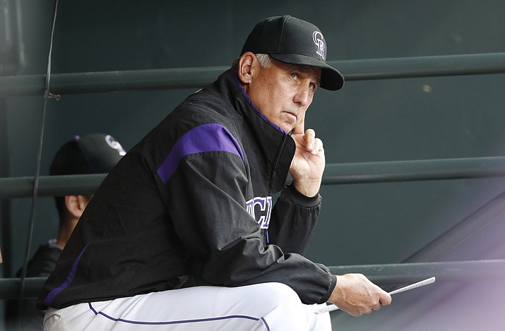 In this Aug. 27, 2019, photo, Colorado Rockies manager Bud Black watches during the first inning of the team's baseball game against the Boston Red Sox in Denver. (David Zalubowski/AP, file)