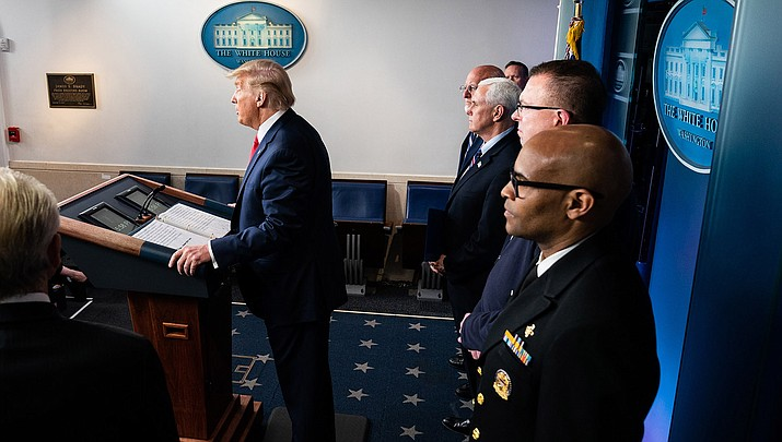 U.S. President Donald Trump, joined by Vice President Mike Pence and members of the coronavirus task force, conduct a press briefing on Sunday, March 22, 2020. (Official White House photo/public domain)