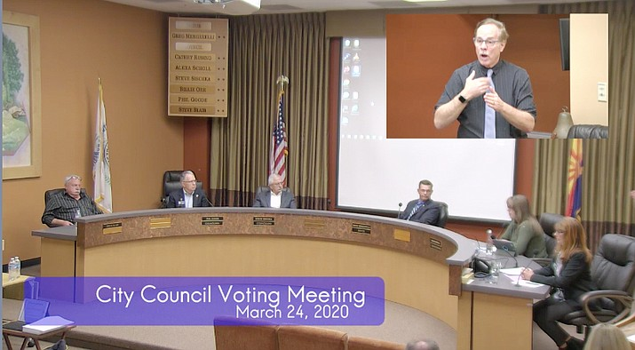 The Prescott City Council conducted its Tuesday, March 24, voting meeting virtually to protect against the spread of the coronavirus (COVID-19). The council heard a report on the many city actions that have occurred because of the virus. (Screenshot/Courier)
