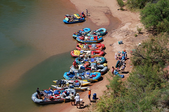 River runners take a break on the Colorado River in the Grand Canyon. The National Park Service has suspended all river trips at Grand Canyon National Park and other national parks to help prevent the spread of COVID-19. (Photo/NPS)