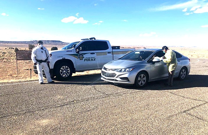 Navajo Nation Police officers conduct a community check point near Chilchinbito, Arizona on the Navajo Nation. (Photo/Navajo Nation Office of the President and Vice President)