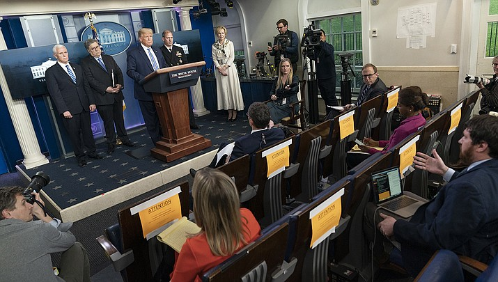 U.S. President Donald Trump Jr. addresses the press during his daily coronavirus update. The number of reporters allowed in the room has been reduced in order to follow social distancing recommendations. (Official White House photo/Public domain)