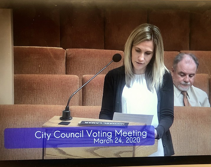 Prescott City Clerk Sarah Siep updates the City Council about the ongoing Census 2020 during the March 24, 2020 council meeting. (COVID-19). (Screenshot/Courier)
