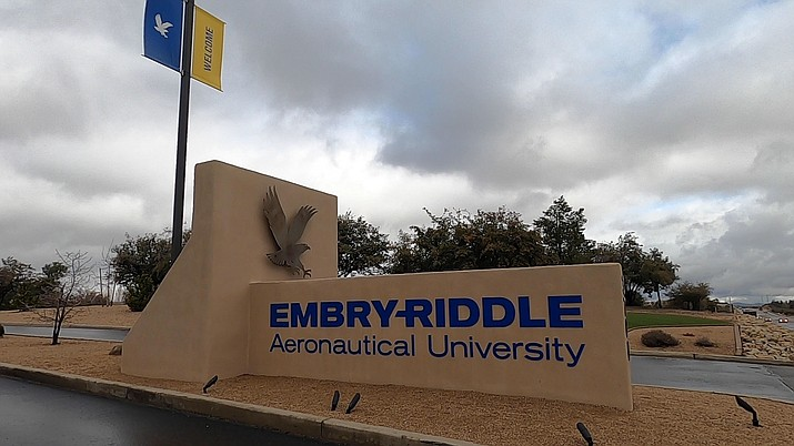 A rainy day at Embry-Riddle Aeronautical University in Prescott on Wednesday, March 11, 2020. (Jesse Bertel/Courier)