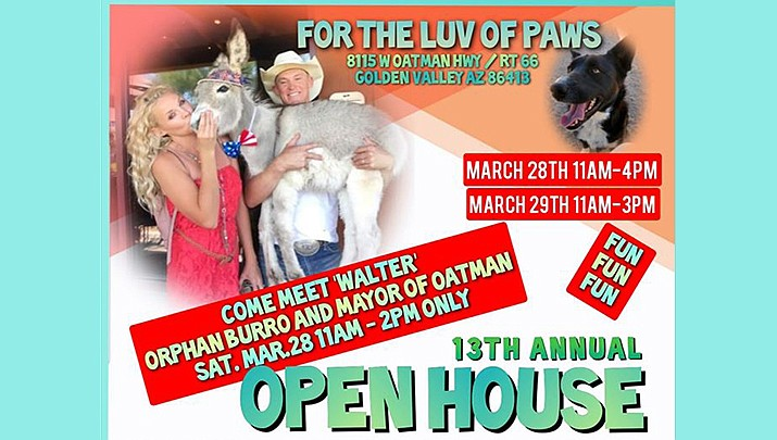 """The """"13th Annual Open House"""" will be held outdoors at the For the Luv of Paws Rescue & Sanctuary, 8115 W. Oatman Highway (Old Route 66) in Golden Valley from 11 a.m. to 4 p.m. on Saturday, March 28, and from 11 a.m. to 3 p.m. on Sunday, March 29. (For the Luv of Paws, Facebook)"""