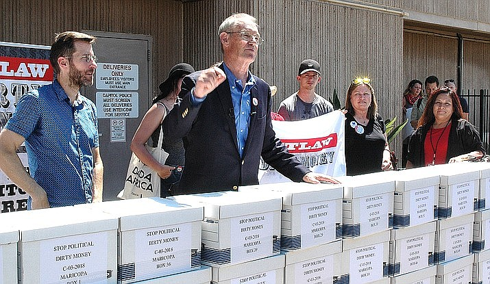 Terry Goddard, one of the co-chairs of what is formally known as the Citizens Right to Know Initiative,'' said that, as of Thursday, after a year of being on the street with petitions, they were about 81,000 names short of the 356,467 valid signatures needed to qualify for the ballot. (Capitol Media Services file photo by Howard Fischer)