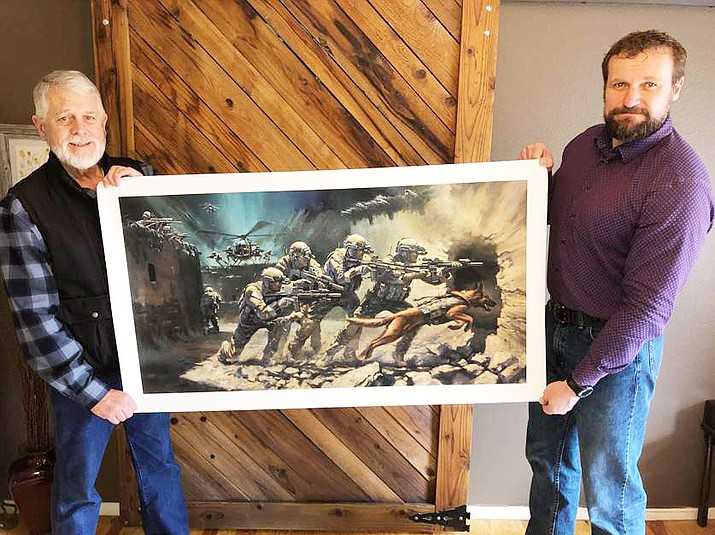 Carl Mueller, left, and Stan Goligoski pose with the painting. (Mueller Family/Courtesy)