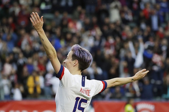 U.S. forward Megan Rapinoe celebrates after scoring against Canada during the second half of a CONCACAF women's Olympic qualifying soccer match Sunday, Feb. 9, 2020, in Carson, Calif. The U.S. won 3-0. (AP Photo/Chris Carlson, file)