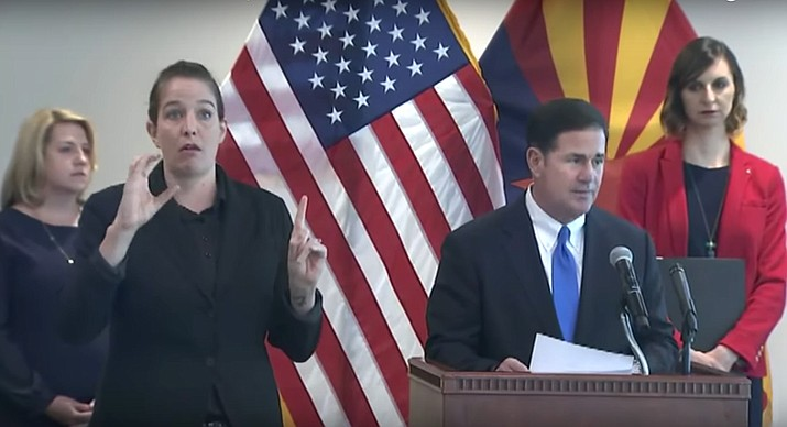 Arizona Governor Doug Ducey announces stay-at-home order in response to the spread of COVID-19 on Monday, March 30, 2020. (Governor Ducey video screenshot)