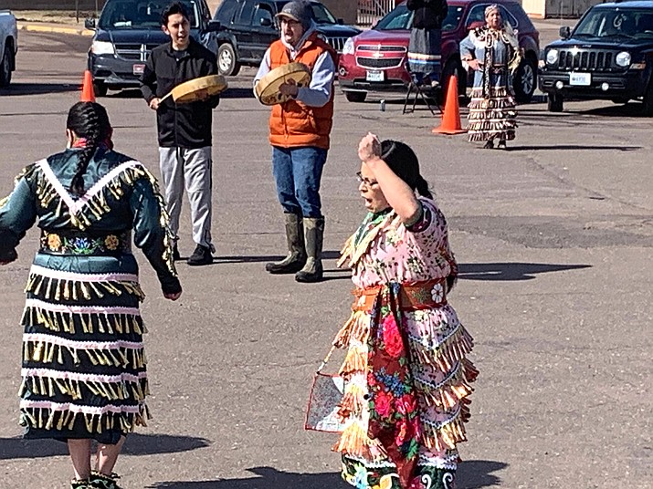 People across Indian Country are organizing online and social-distancing powwows. (Lynn Maday Bigboy via AP)