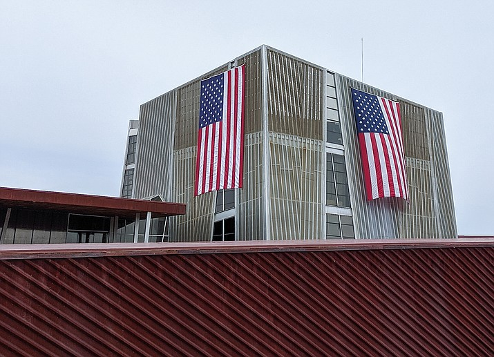 Flags can be seen on top of the Prescott Valley Library. (Courtesy)