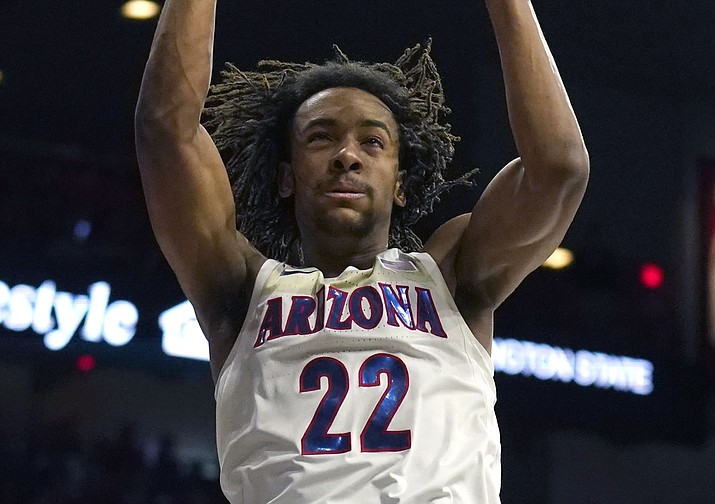 Arizona forward Zeke Nnaji dunks against Washington State during the second half of a game Thursday, March 5, 2020, in Tucson. (Rick Scuteri/AP)