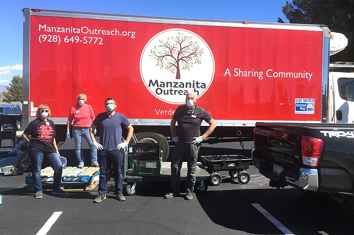 Manzanita Outreach drive-thru Food Sharing events occur every Friday from 5-7 p.m. and Saturday morning from 9 a.m. to noon in the parking lot of Verde Valley Christian Church at 406 S 6th St in Cottonwood.  Signs will be posted to lead residents to the event. Manzanita Outreach courtesy photo