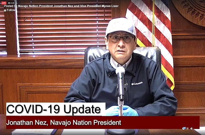 Navajo Nation President Jonathan Nez provides a COVID-19 update via Facebook Live March 31. The Navajo Nation's daily curfew remains in effect from 8 p.m. to 5 a.m., seven days a week. (Screenshot/NHO)