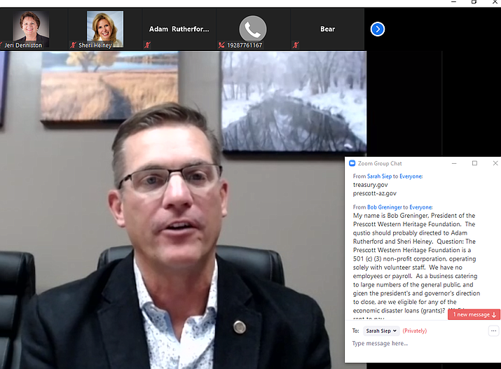 Prescott Mayor Greg Mengarelli hosts an online town hall meeting for small business owners Friday afternoon, April 3, 2020. (Screen shot)