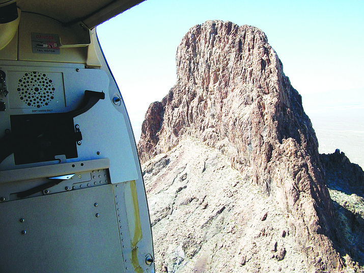 Boundary Cone Peak is shown in this photo taken from an Arizona Department of Public Safety helicopter. (Photo by Luis Vega/For the Miner)