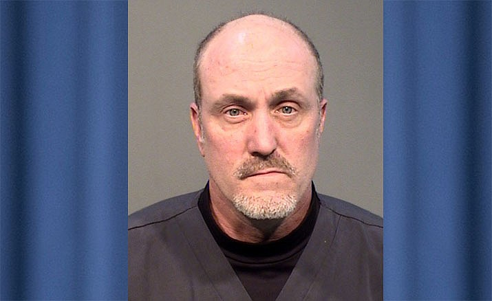 According to Prescott Police Department officials, 49-year-old Prescott resident Keith Brown admitted to stealing gloves, hand sanitizer, surgical scrubs, wash cloths, paper towels, masks, bleach cleaner, an automatic hand sanitizer machine and toilet paper from the hospital over a three-week period. (Prescott PD/Courtesy)