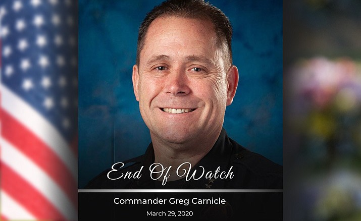 The Phoenix Police Department announced that a funeral Mass for Cmdr. Greg Carnicle, who was killed in the line of duty, is planned for Tuesday, April 7, 2020, with only immediate family present. Authorities say the service at St. Jerome's Catholic Church will be limited because of the coronavirus pandemic. (Phoenix PD/Courtesy)