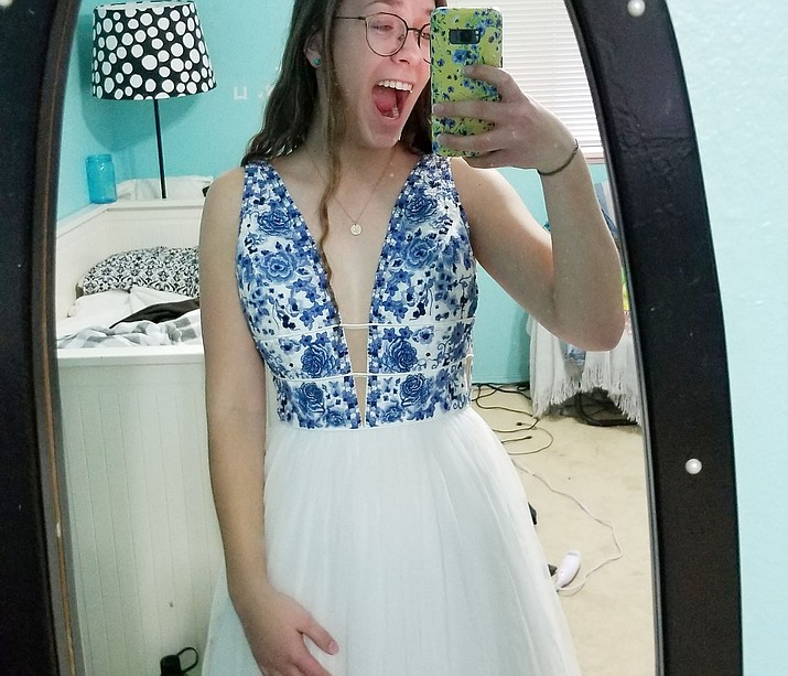 Madison Jackson, the yearbook editor at Prescott High School, poses in a prom-dress selfie. The annual dance is up in the air right now due to the coronavirus. (Madison Jackson/Courtesy)
