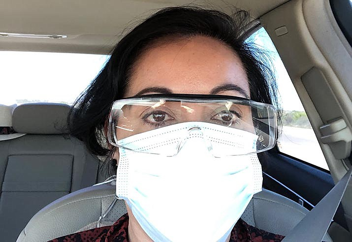 With a makeshift collection of protective gear, immigration attorney Margarita Silva arrives at an Arizona ICE detention facility on March 20 to meet a client. (Photo courtesy of Margarita Silva)