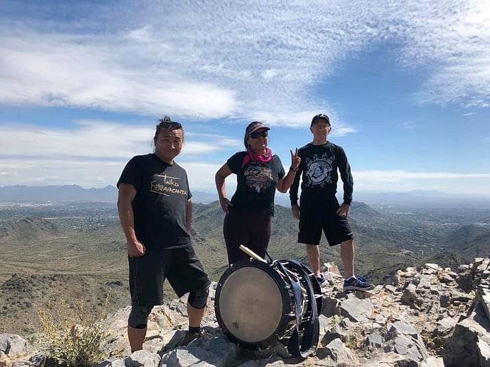 On Monday, March 23, 20202 on top of Piestewa Peak, Ken Koshio, Geri Hongeva-Camarillo and Ernest Martinez. (Photo courtesy of NHHR)