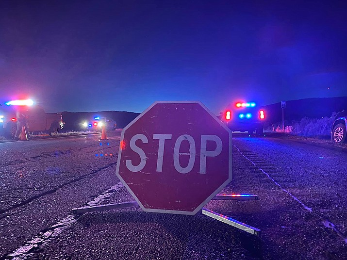 Stop sign at checkpoint conducted by the Navajo Police Department. (Photo courtesy Navajo Police Department)